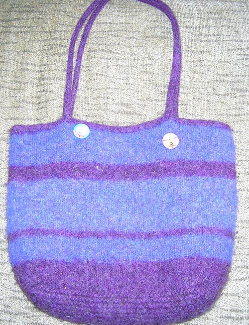 purple striped bag
